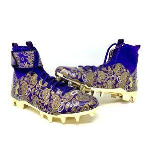 UA C1N MC LE Football Cleats - Gold Purple Paisley